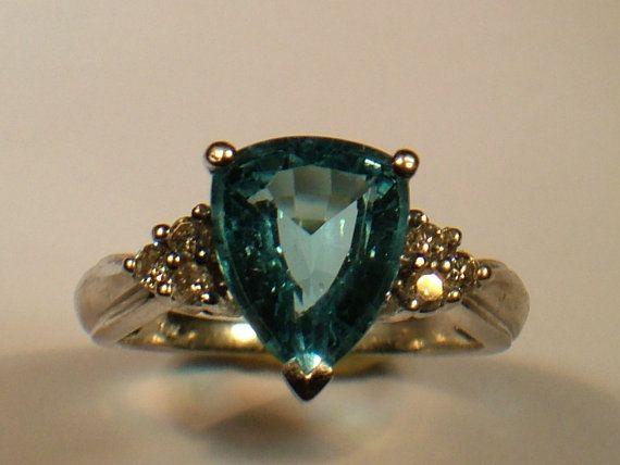 Ladies Aquamarine Ring Tear Shape with by My3LadiesJewelry on Etsy, $299.00