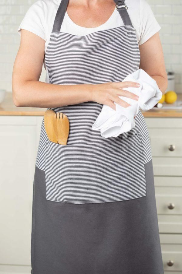 Photo of Sticky Toffee Cotton Basic Cooking Apron With Pocket, Adjustable Tie, 27 x 34 – Gray