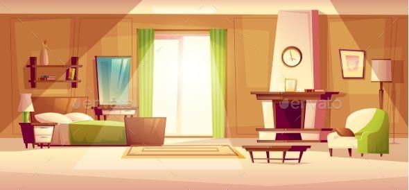 Vector Cartoon Illustration Of A Bedroom Interior Wallpaper In