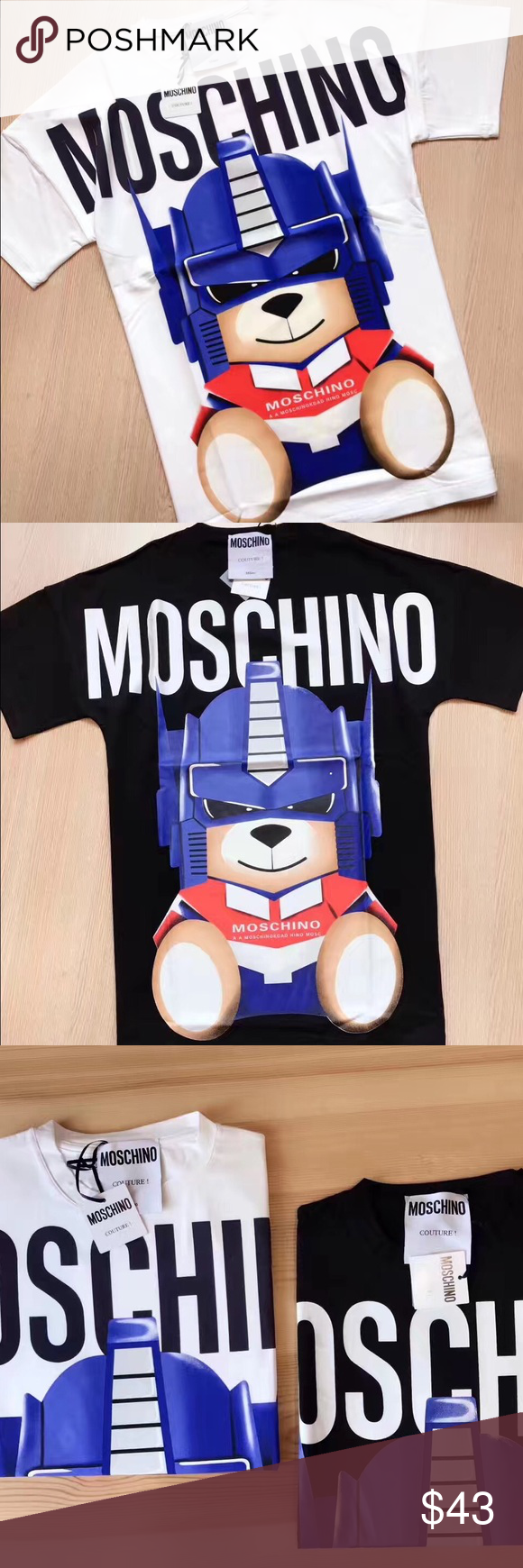 MOSCHINO Teddy Robot Tee Order on Poshmark is now available!   Women's sizes are available only (S-L).  Very fitted or worn oversized.  For sizing inquiry please email dandyshop17@gmail.com Moschino Tops Tees - Short Sleeve