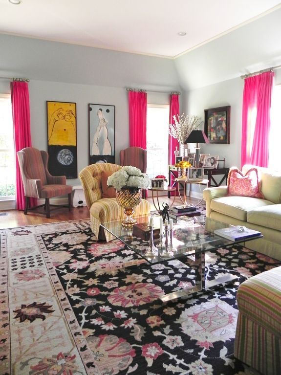 awesome light green living room curtains   Albertina's colorful living room + my art installed. Hot ...