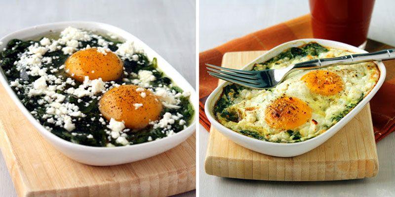 Huevos Al Horno Con Espinacas Y Queso Feta Gourmet
