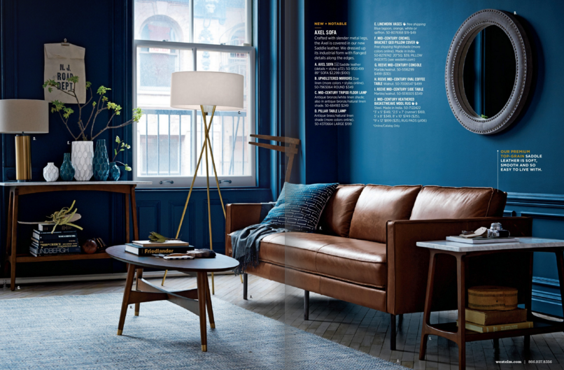 Superbe U003cWest Elm July 2015 Catalogue, Blue Mid Century Style Living Room With Leather  Sofau003e