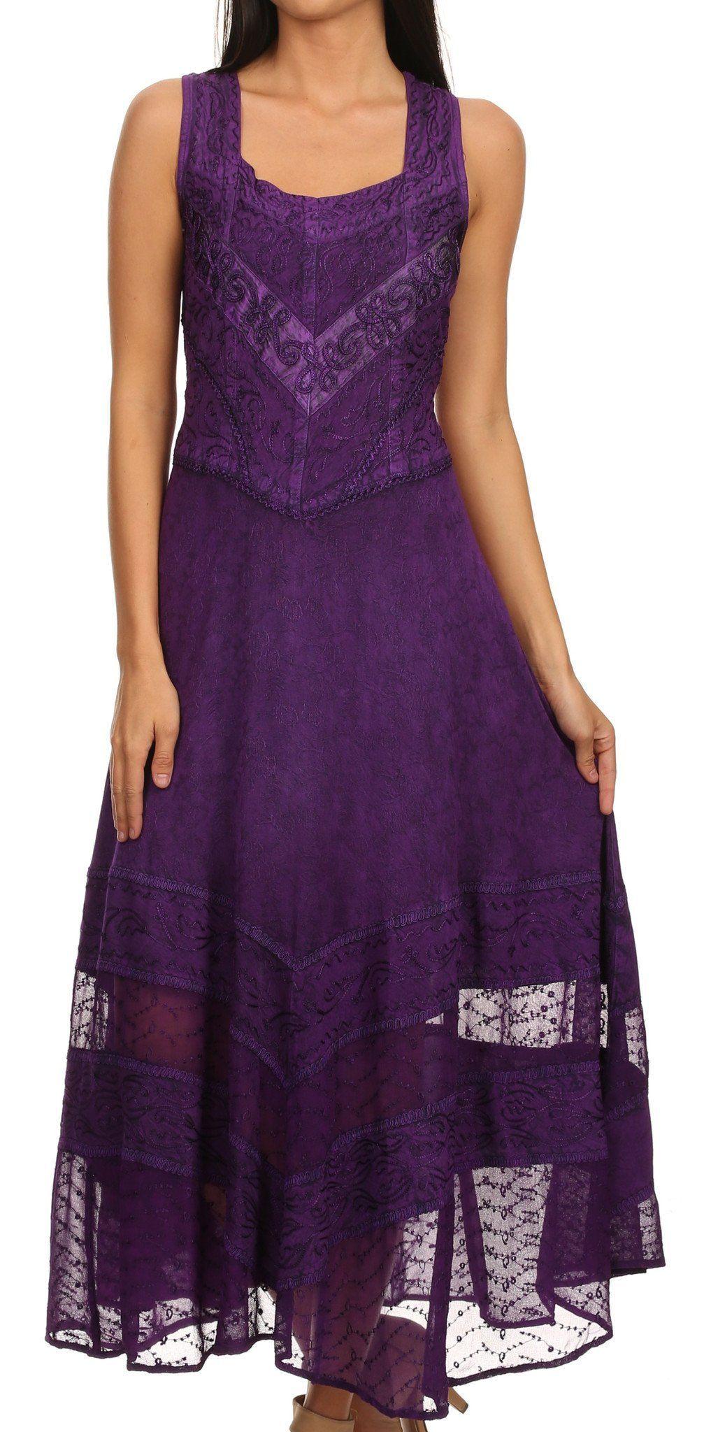 Purple dresses to wear to a wedding  Sakkas Zendaya Stonewashed Rayon Embroidered Floral Vine Sleeveless