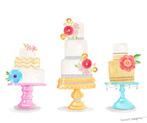 Watercolor Cake Clip Art : Watercolor decorative cakes ... cool idea with a little ...