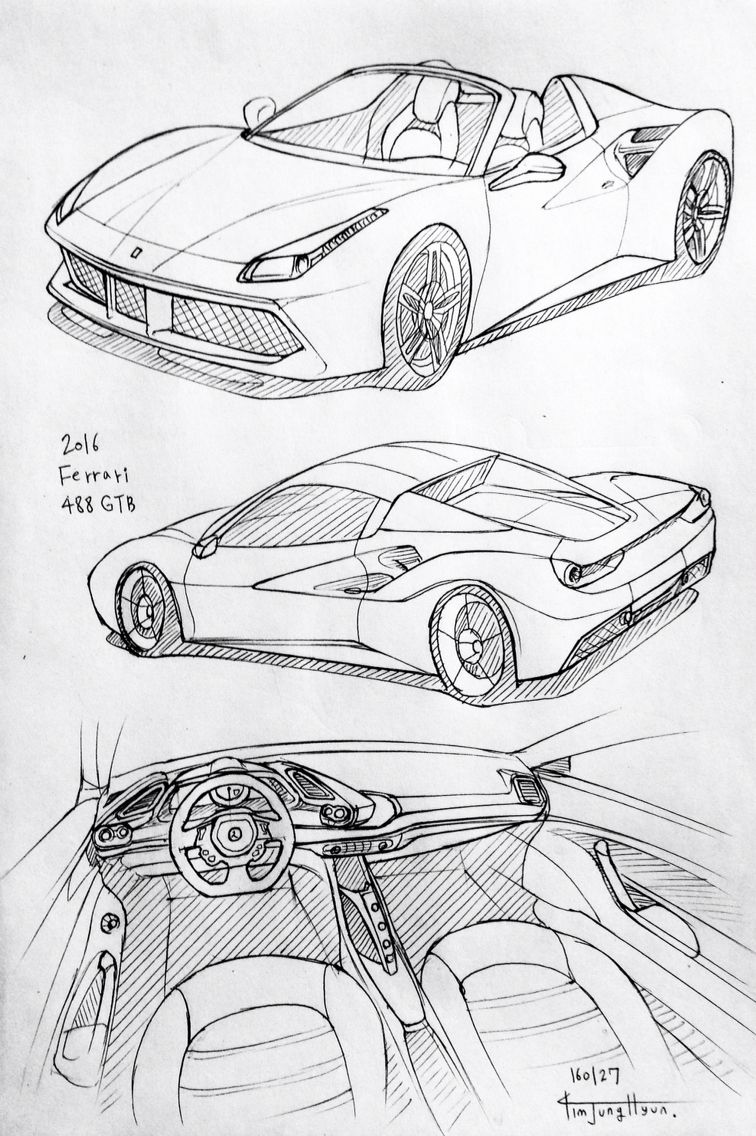 Car Drawing 160127 2016 Ferrari 488 Gbt Prisma On Paper Kim J H