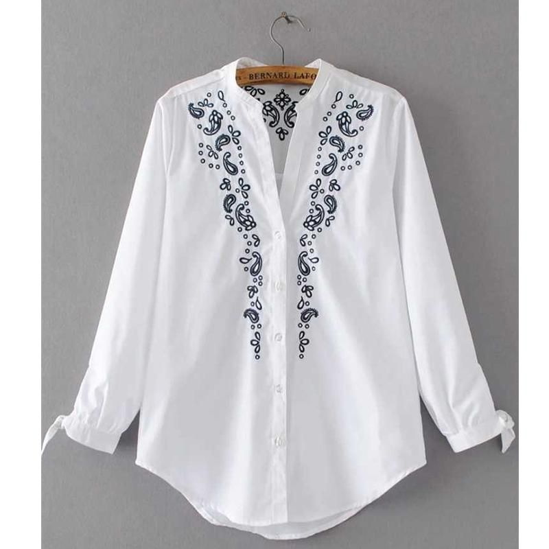 72a3ad0ea0d Fashion Women Embroidery Blouse Shirt V Neck Lace Up Cuffs Curved Hem Ladies  White Shirts