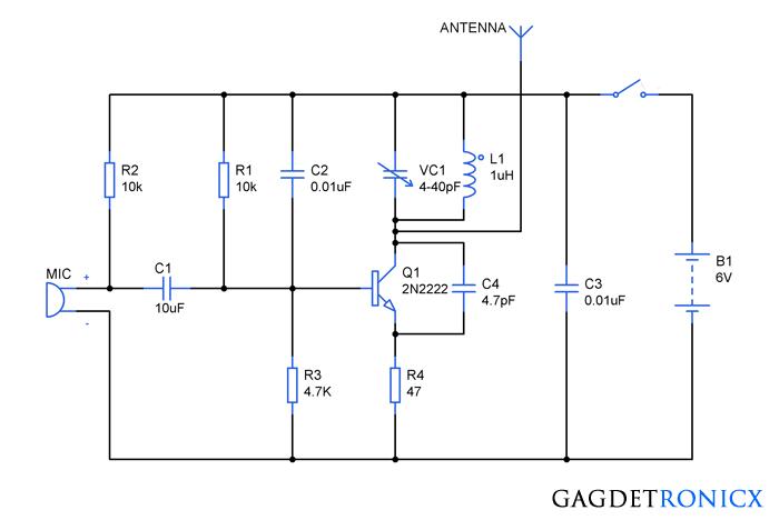 Simple FM spy bug circuit using Transistor | Circuits, Spy and Spy bug