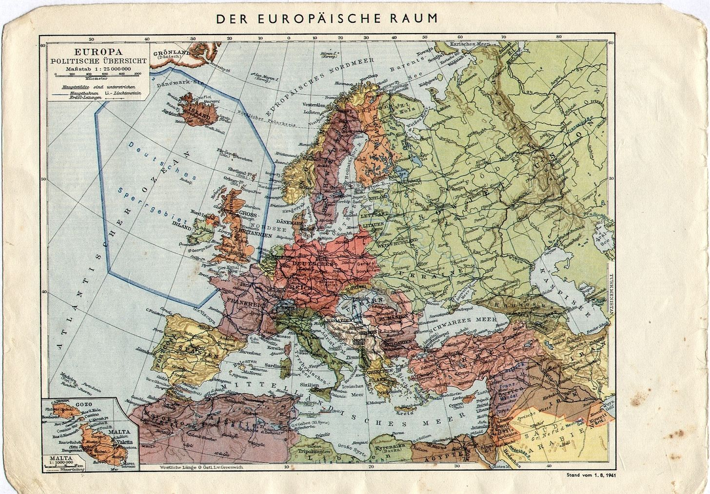 1941 german map of europe with a forbidden zone around the uk 1941 german map of europe with a forbidden zone around the uk gumiabroncs Images