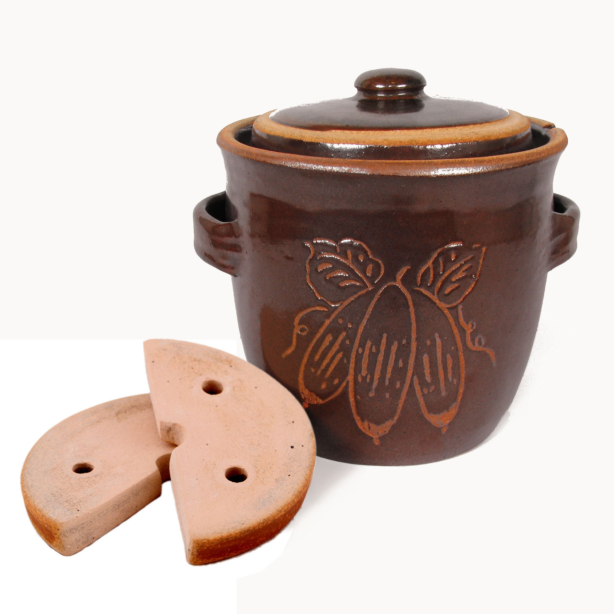 Rustic Fermenting Crock - Brown 3l 4l With Weights