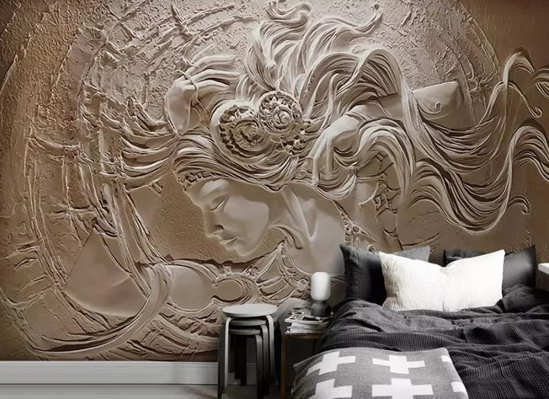 3d Classical Relief Beauty Wallpaper Removable Self Adhesive Wallpaper Wall Mural Vintage Art Peel And Stick Custom Photo Wallpaper Wall Painting Living Room Custom Wallpaper
