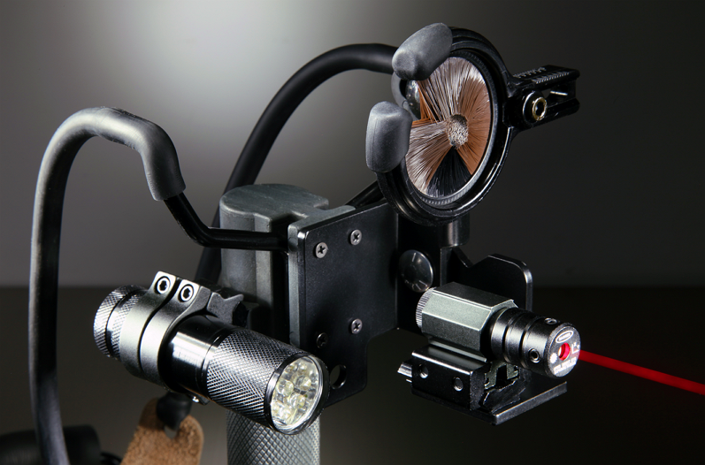 Close up view of custom centerline laser sight for Archery or Archery Complete Models