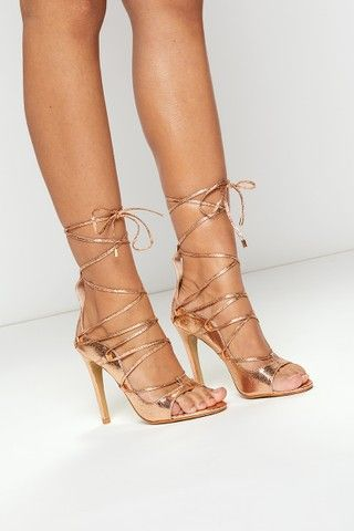 b46ca24f5b53 Stephanie Rose Gold Metallic Lace Up Heels in 2019