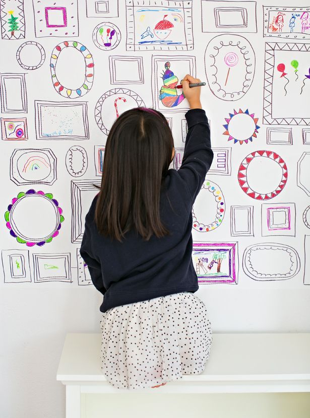 Easy DIY Frames Wallpaper Encourage Your Kids Creativity And Art By Making Own Removable