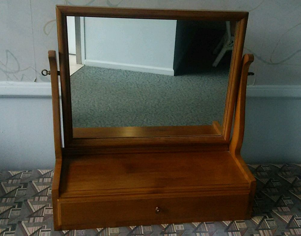 Kling Colonial Tabletop Shaving Mirror With Drawer Buckwheat Maple Shaving Mirror Mirror Mirror Table