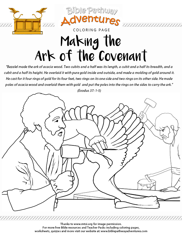 Bible Coloring Page Making The Ark Of The Covenant Moses Bible