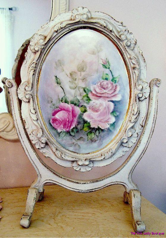 Chic Shabby Vintage Hand Carved Wood Tilt Frame Original Rose Painting Gorgeous | eBay
