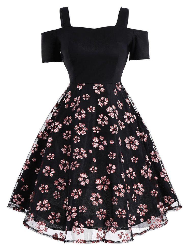 Ava Vintage Mesh Panel Blumenkleid Vintage-Kleider, Kleid, Kleidung, Damen ... #emodresses