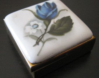 Vintage square marble topped metal pill box, blue and white flower, gold type metal box
