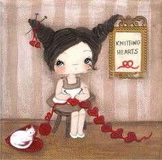 Knitting hearts