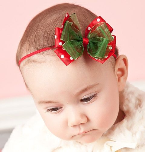 Double Layer Bow Red with Dots and Green by thesimplelittlething, $6.95