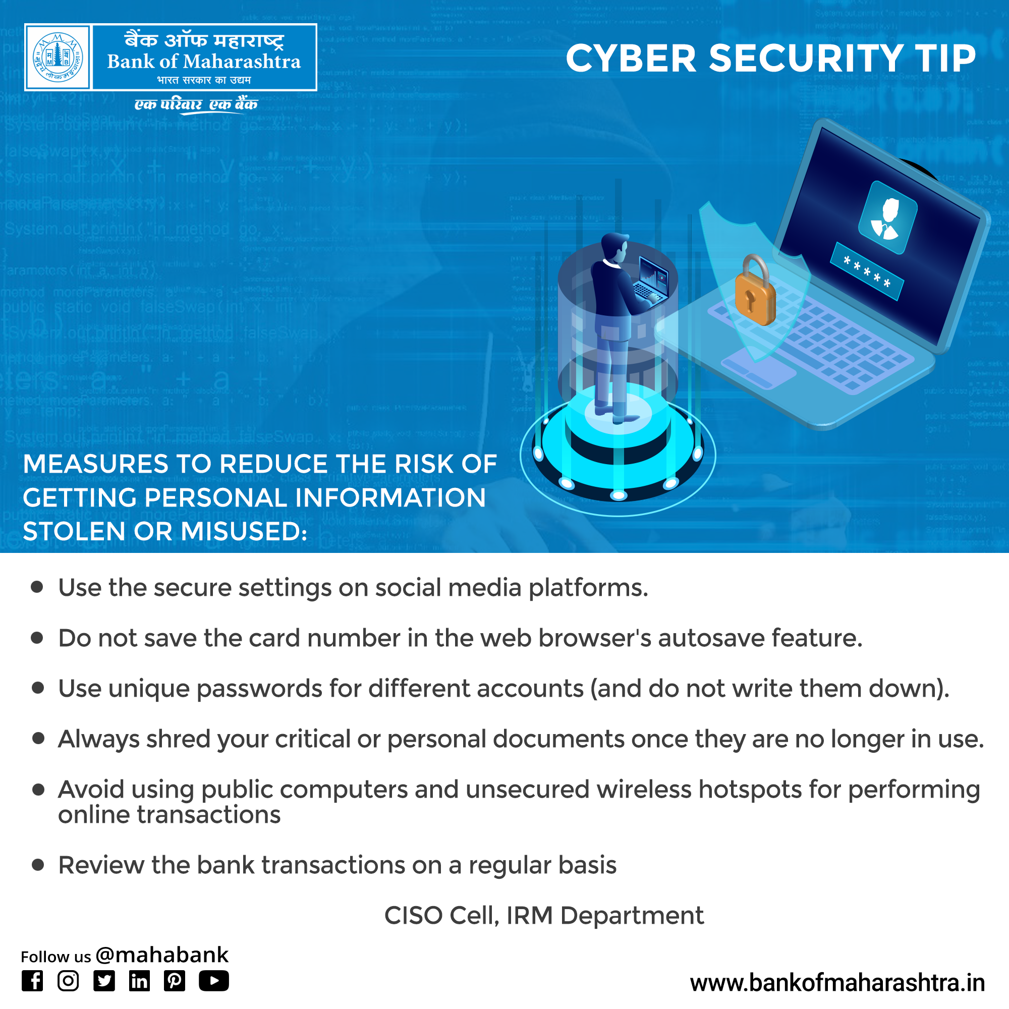 Tips To Reduce The Risk Of Getting Personal Information Stolen Or Misused Bankofmaharashtra Bom Mahabank Cybers Security Tips Cyber Security Digital India