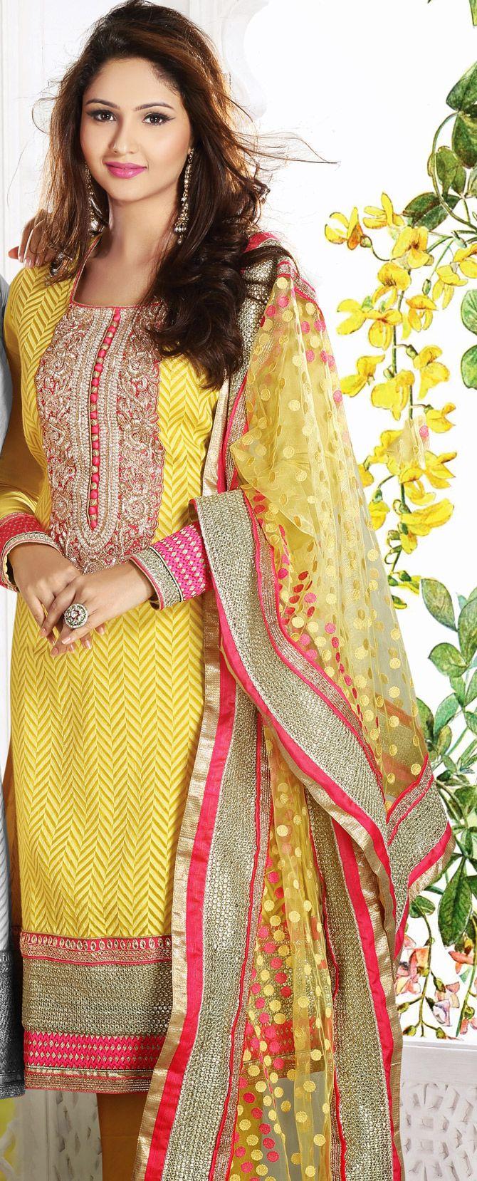 #Yellow Banarasi Silk #Churidar #Fashion #Design | @ $200.48