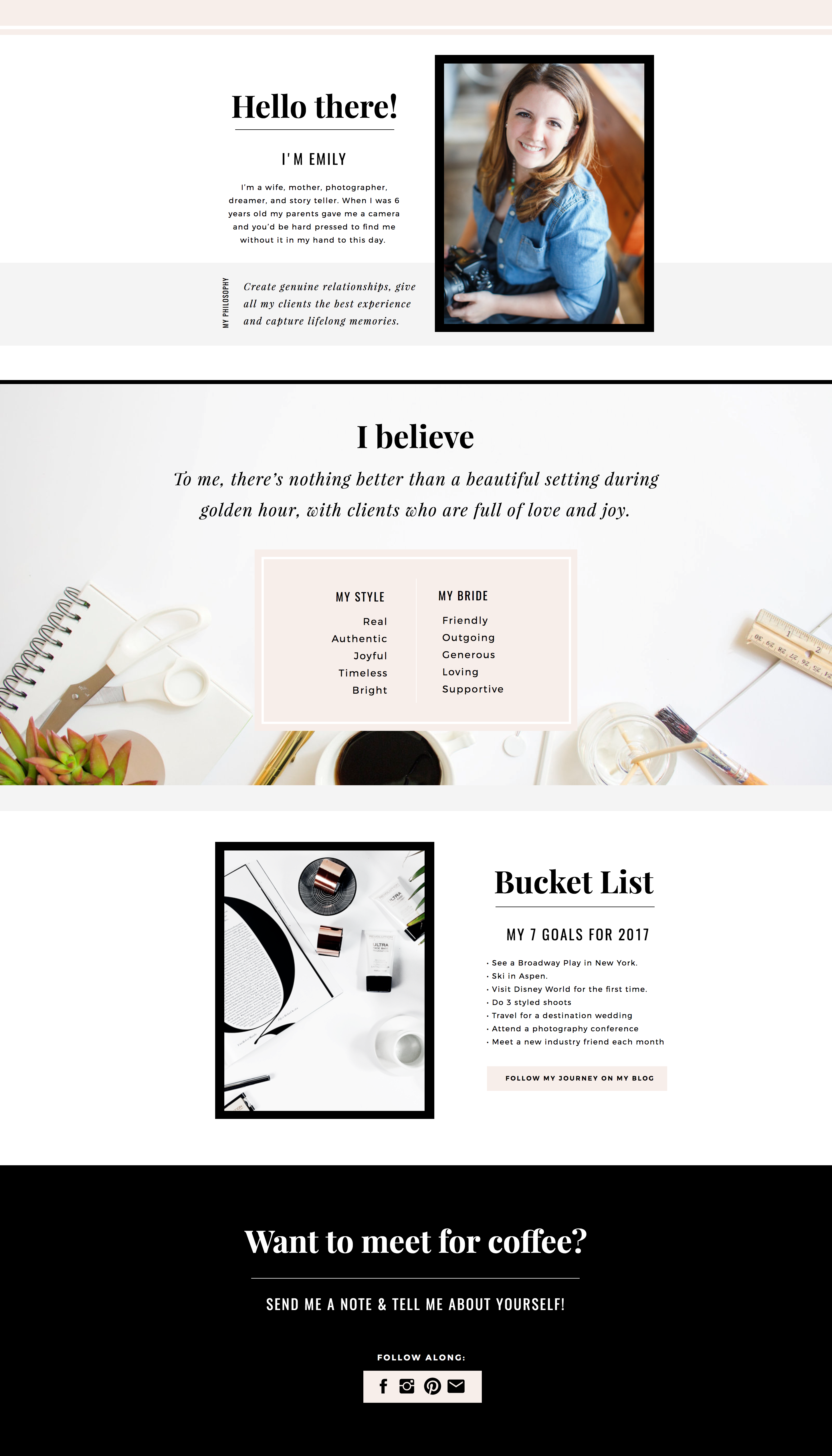 marin about page template design by seaside creative showit site