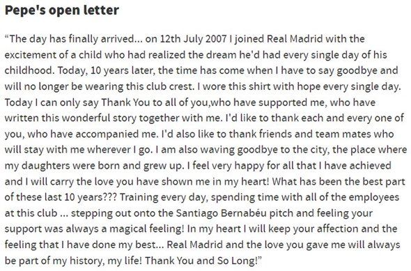 Pepeu0027s open farewell letter to RM and all Madridistas real - farewell letter