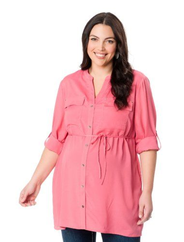 ed0f37590e0 Motherhood Plus Size 3 4 Sleeve Mandarin Collar Button Detail Maternity  Blouse for only  19.99 You save   14.99 (43%)