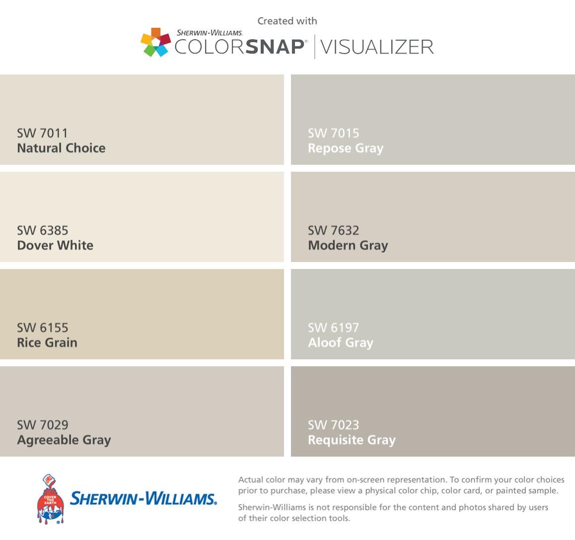 Ich Habe Diese Farben Mit Colorsnap Visualizer Für Iphone: Love These Classic Sherwin-Williams Neutrals For New Homes