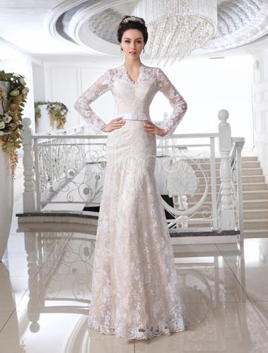 vestido de novia de encaje blanco con escote en v - milanoo