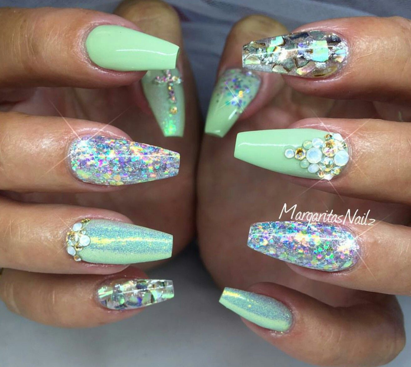 Acrylic Nails With Mint Green And Silver Glitter Shellac Quinceanera Nails Green Nails Mint Green Nails
