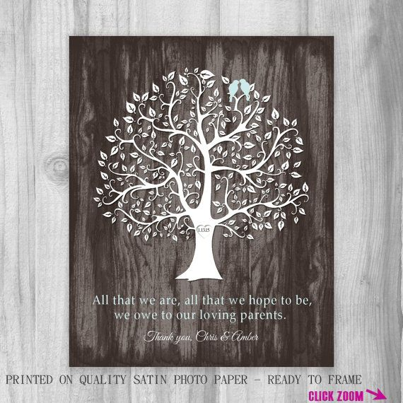 Gift for Parents of the Bride and Groom Personalized Print Thank You Wedding ALL THAT We ARE Unique Tree Birds Wood Look Customized