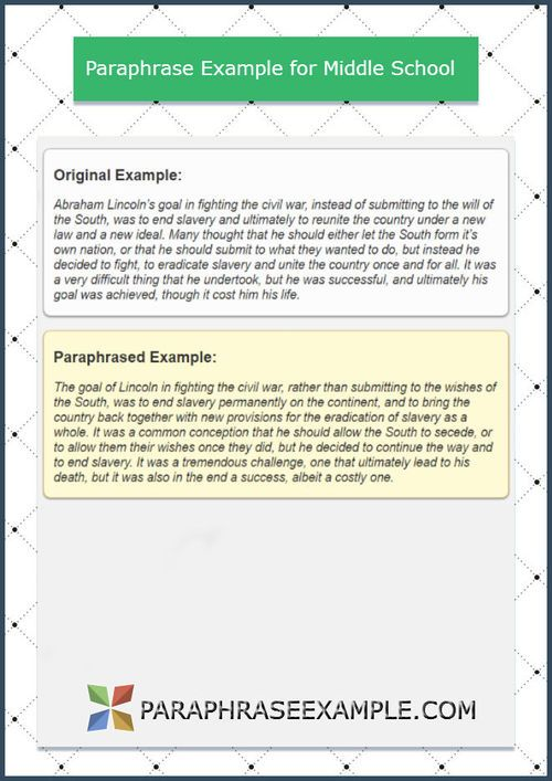 Http Www Paraphraseexample Com Our Paraphrase Example Collection Paraphrasing For Middle School If You Are In The And Need To Par How Improve Skills Skill