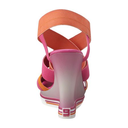 """As seen in the Zoe Report & the June issue of O, the Oprah Magazine.....Athletic inspired sandal with two toned elastic crisscross straps for easy on/off.  4 1/2"""" wedge heel & 1"""" ombre covered platform."""