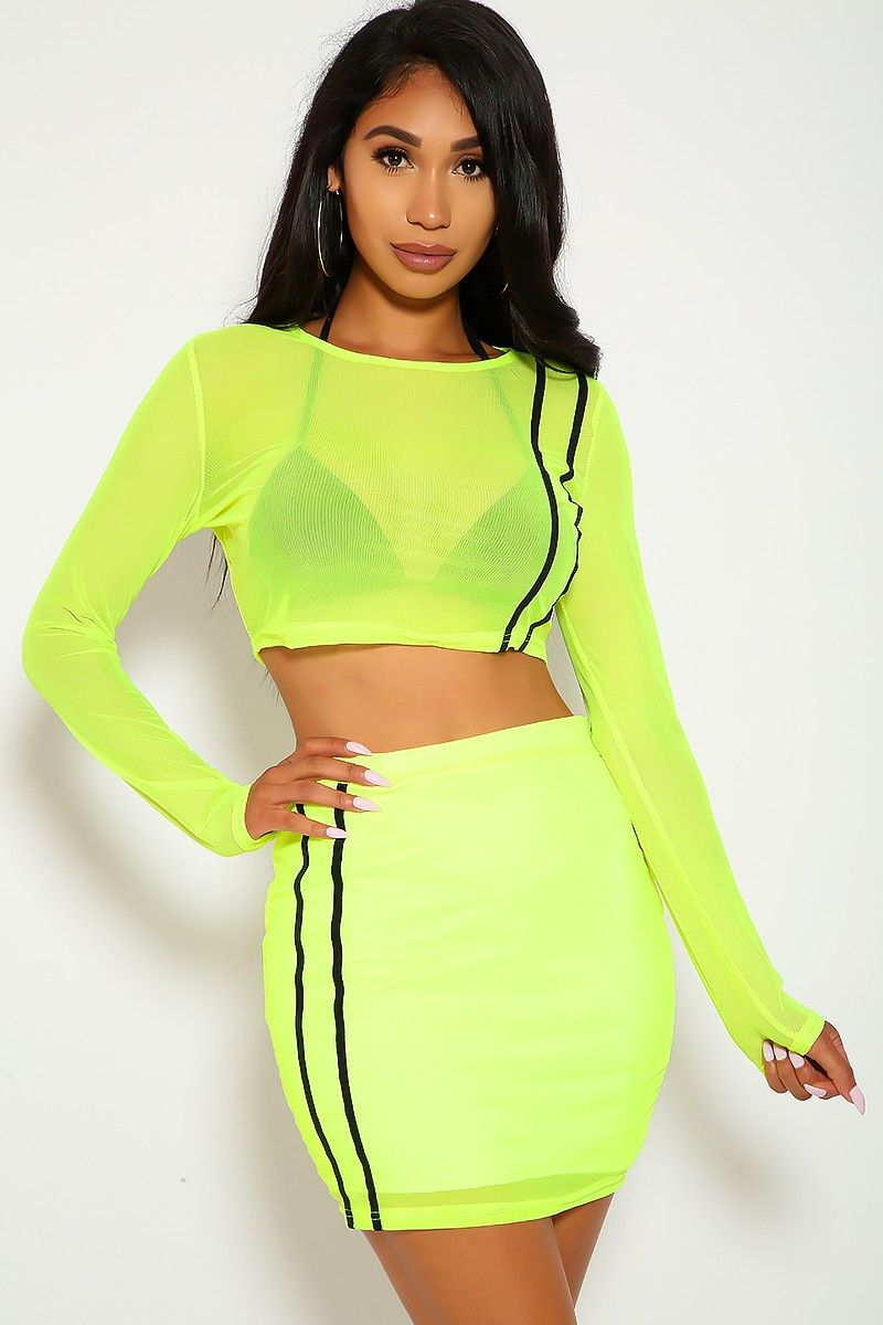 7dbc0632 Sexy Neon Lime Sheer Bodycon Two Piece Party Dress in 2019 | party ...