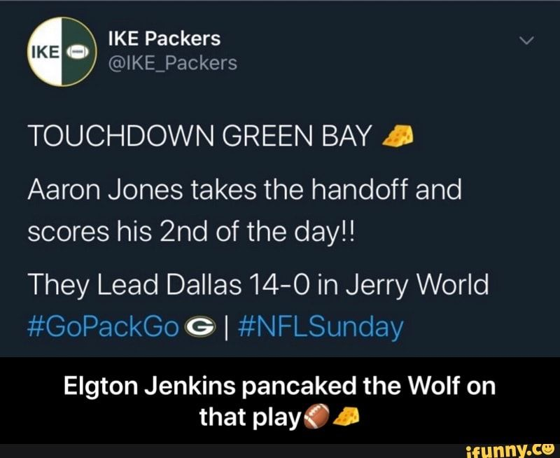 Touchdown Green Bay Aaron Jones Takes The Handoff And His 2nd Of The Day They Lead Dallas14 O In Jerry World Gopackgo G I Nflslinclay Elgton Jenkins Panc With Images Green Bay