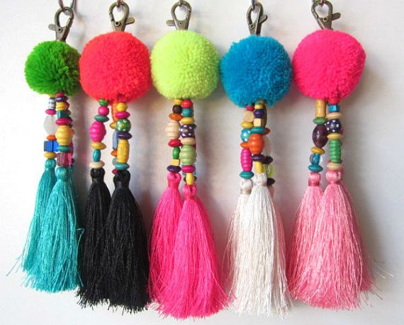 luisa tassle keychain large pom pom tassel keychain tassel zipper pull boho chic bag charm beach. Black Bedroom Furniture Sets. Home Design Ideas