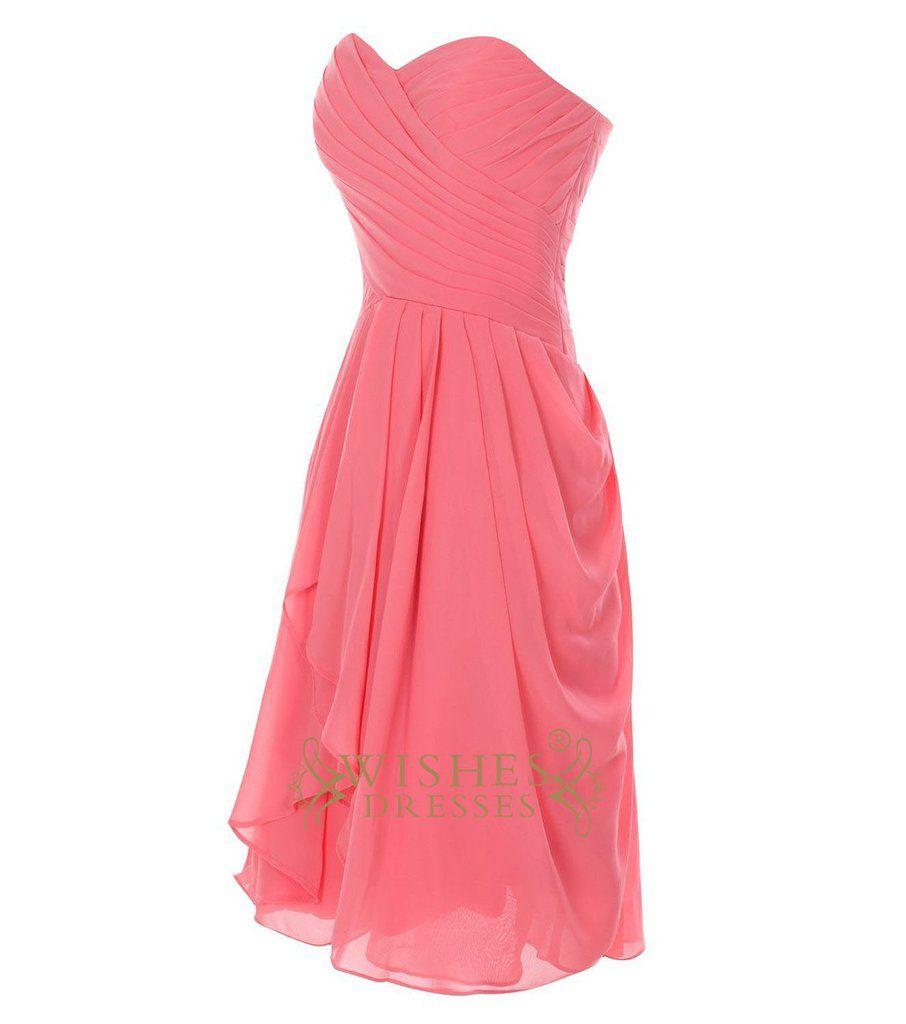 Coral Chiffon Slight Pick-up Side Knee Length Bridesmaid Dress ...