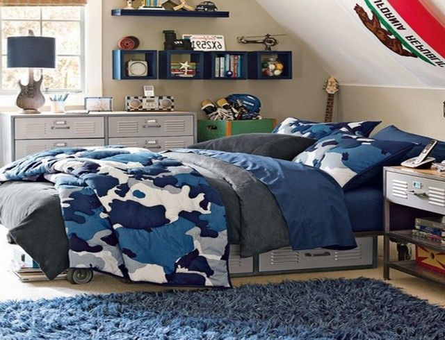 Blue camo bedding full teen boy bedding blue for Camouflage bedroom ideas for kids