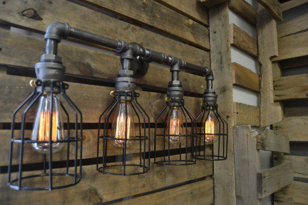 20 Savvy Handmade Industrial Decor Ideas You Can Diy For Your Home Industrial Bathroom Lighting Industrial Light Fixtures Bathroom Industrial Lighting Design