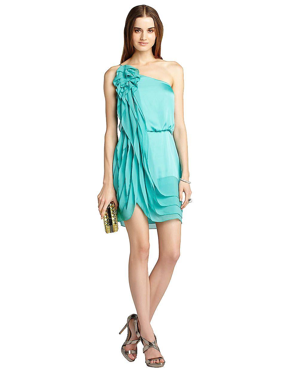Silk Chiffon One-Shoulder Ruffle Dress | Lord and Taylor The colour ...