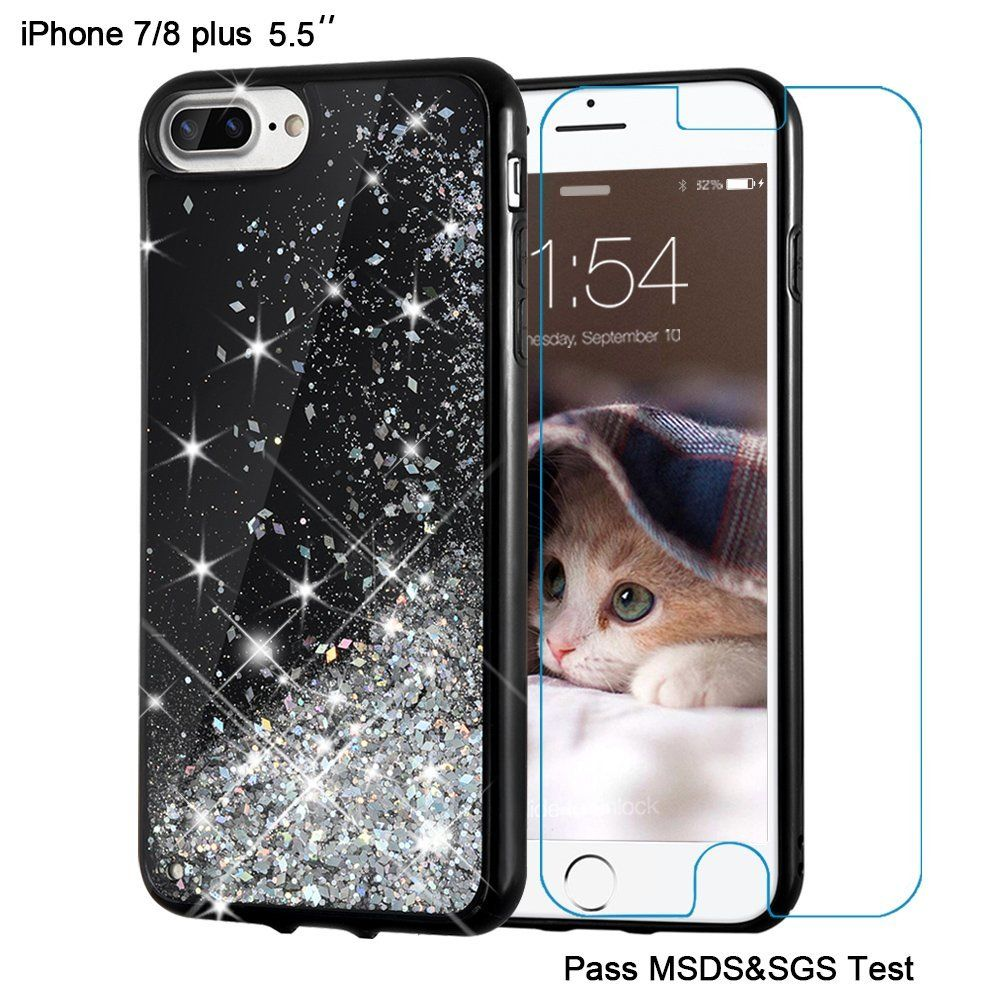 Iphone 8 Plus Case 7 Maxdara Screen Protector Xs Spigen Anti Shock With Stand Tough Armor Casing Black Glitter Liquid Sparkle Protective Floating Bling Pretty Quicksand For Girls