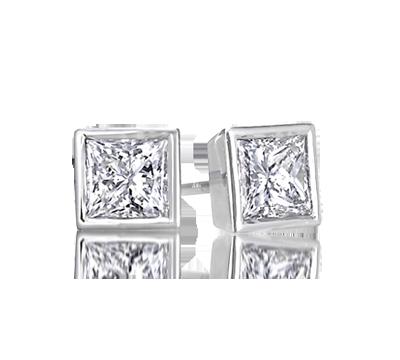 Bezel Set Princess Cut Diamond Earrings Princesscutearrings