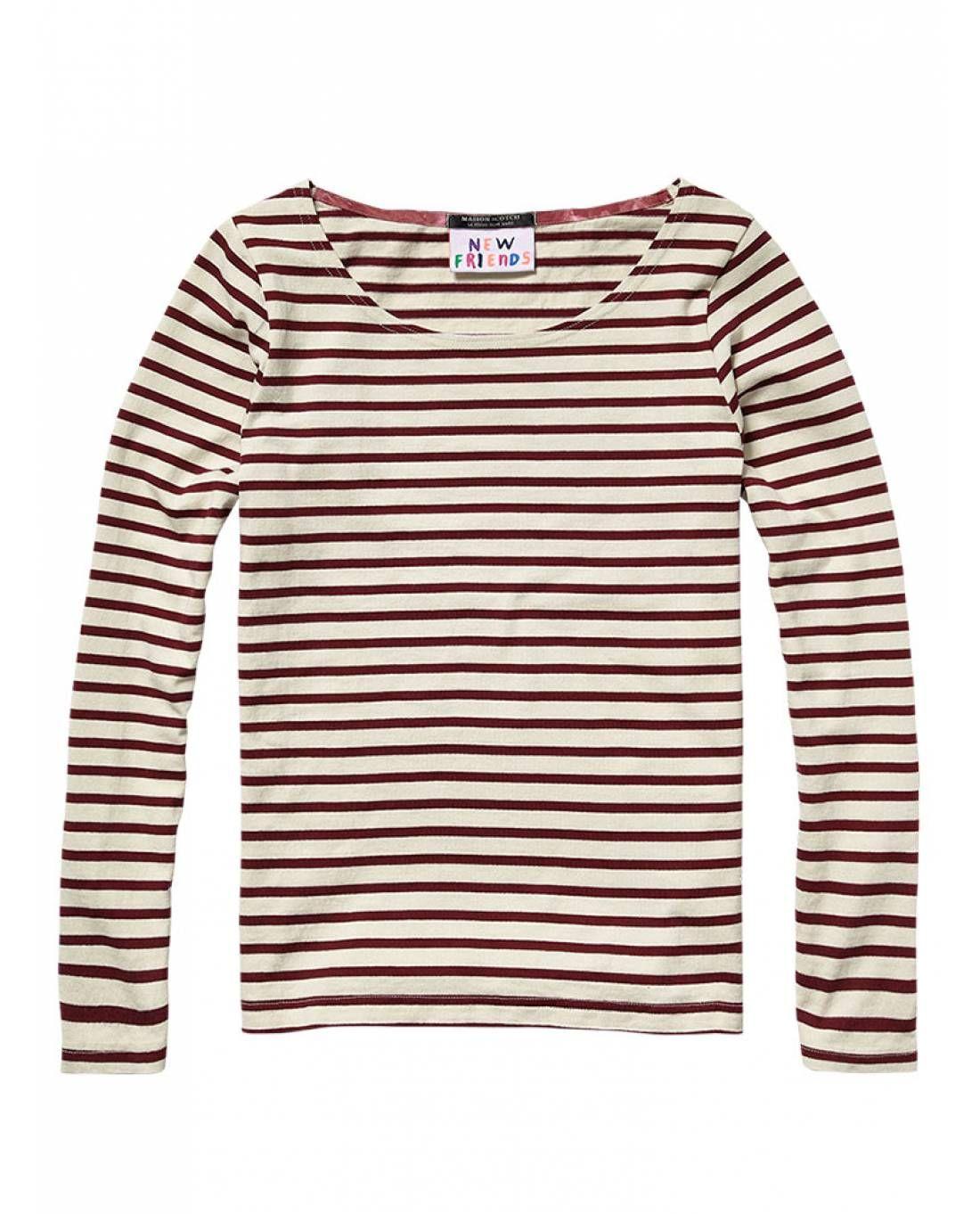 Breton stripe shirt with zipped cuffs by Maison Scotch   Fashion dff28376965f