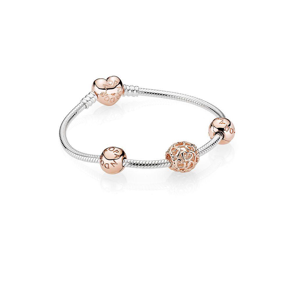 pandora silver bracelet rose gold heart
