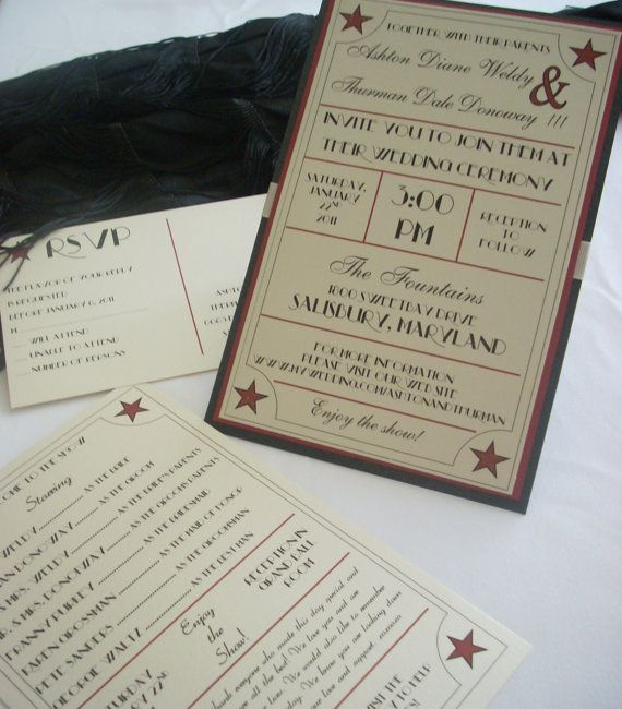 Glamorous 1920 s 1930 s 1940 s Old Hollywood Wedding Invitation