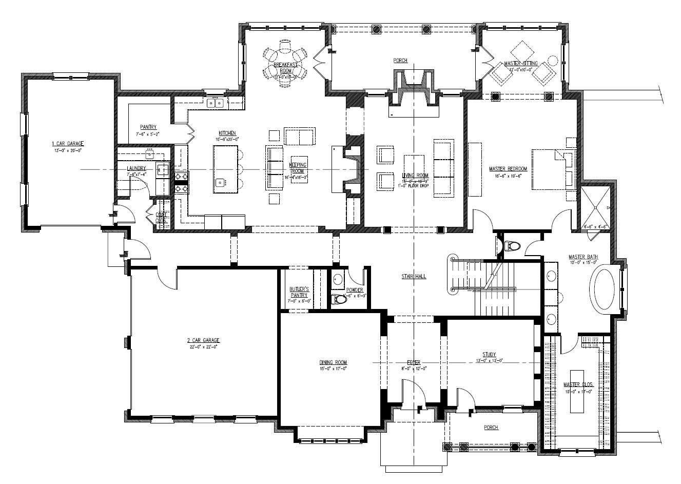 open one story house plans | home plan: 152-1004 floor plan first