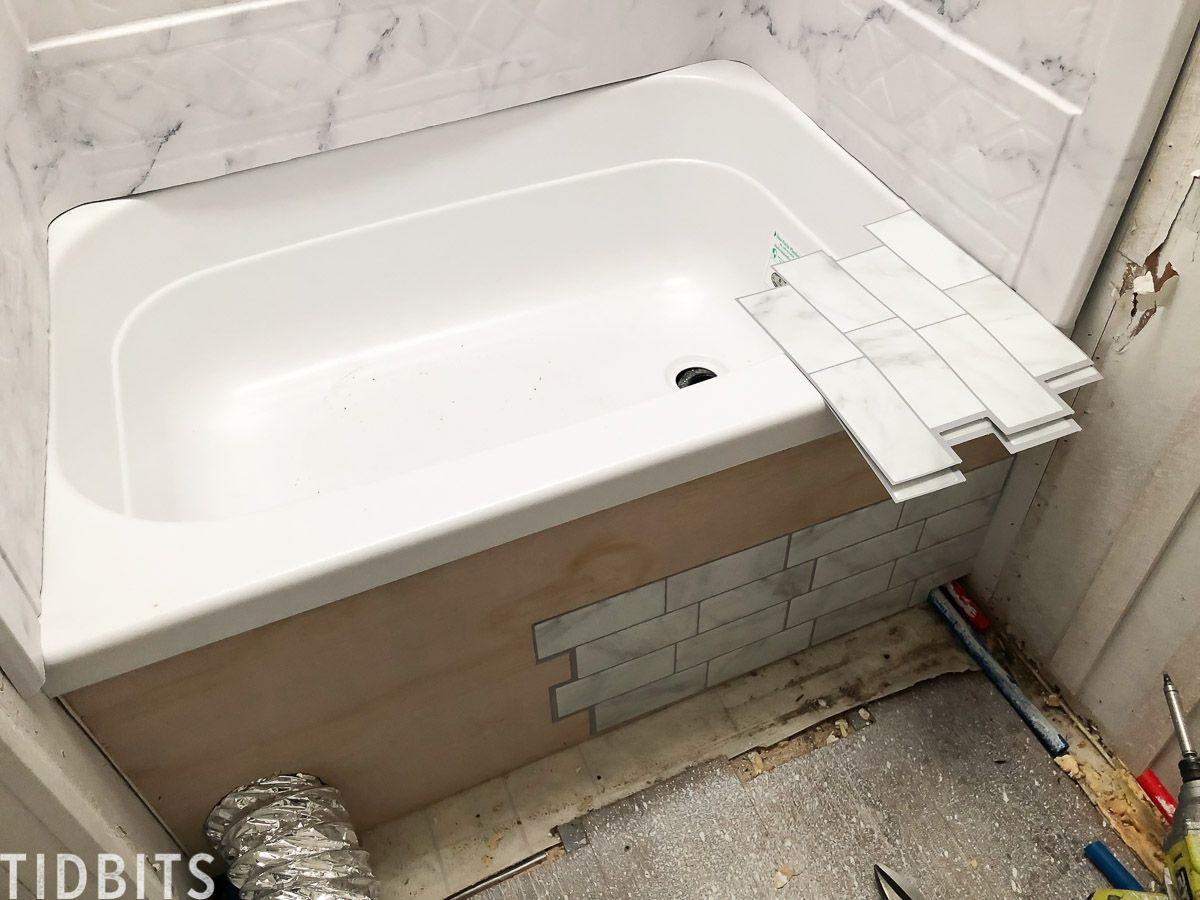 RV Renovation Process Shower renovation, Bathtub walls